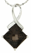 """2.38ctw Smokey Quartz Pendant in Sterling Silver with 18""""Chain"""