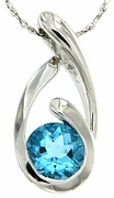 "1.51ctw Swiss Blue Topaz Pendant in Sterling Silver with 18"" Chain"
