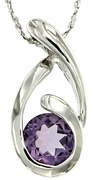 "1.03ctw Amethyst Pendant in Sterling Silver with 18"" Chain"