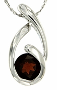 "1.68ctw Garnet Pendant in Sterling Silver with 18"" Chain"