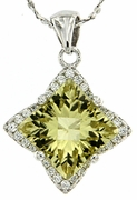 "3.29ctw Lemon Quartz Pendant in Sterling Silver with 18""Chain"