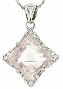 "3.86ctw Rose Quartz Pendant in Sterling Silver with 18""Chain"