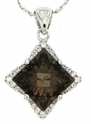 "3.25ctw Smokey Quartz Pendant in Sterling Silver with 18""Chain"