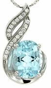 "3.24ctw Sky Topaz Pendant in Sterling Silver with 18"" Chain"