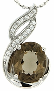 "2.50ctw Smokey Quartz Pendant in Sterling Silver with 18""Chain"