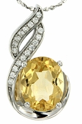 "2.60ctw Citrine Pendant in Sterling Silver with 18"" Chain"