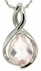 "0.95ctw Rose Quartz Pendant in Sterling Silver with 18""Chain"