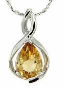 "1.14ctw Citrine Pendant in Sterling Silver with 18"" Chain"