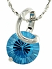 "2.55ctw Swiss Blue Topaz Pendant in Sterling Silver with 18"" Chain"