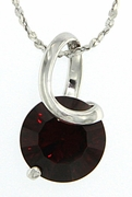 "2.75ctw Garnet Pendant in Sterling Silver with 18"" Chain"