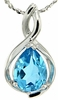 "1.24ctw Swiss Blue Topaz Pendant in Sterling Silver with 18"" Chain"