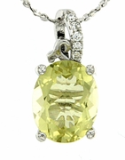 "2.63ctw Lemon Quartz Pendant in Sterling Silver with 18""Chain"
