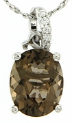 "2.56ctw Smokey Quartz Pendant in Sterling Silver with 18""Chain"