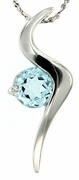 "0.94ctw Sky Topaz Pendant in Sterling Silver with 18"" Chain"