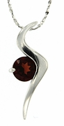 "1.01ctw Garnet Pendant in Sterling Silver with 18""Chain"