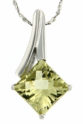 "2.45ctw Lemon Quartz Pendant in Sterling Silver with 18""Chain"