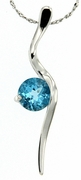"1.48ctw Swiss Blue Topaz Pendant in Sterling Silver with 18"" Chain"