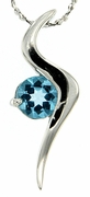 "1.00ctw Swiss Blue Topaz Pendant in Sterling Silver with 18"" Chain"