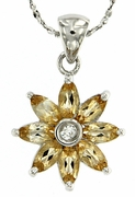 "0.99ctw Citrine Pendant in Sterling Silver with 18"" Chain"