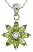 "1.16ctw Peridot Pendant in Sterling Silver with 18"" Chain"