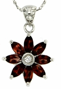 "1.33ctw Garnet Pendant in Sterling Silver with 18""Chain"