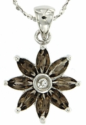 "0.95ctw Smokey Quartz Pendant in Sterling Silver with 18""Chain"