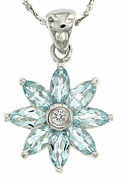 "1.38ctw Sky Topaz Pendant in Sterling Silver with 18"" Chain"