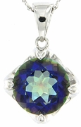 "6.07ctw Mystic Iolite Blue Pendant in Sterling Silver with 18"" Chain"