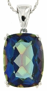 "14.15ctw Mystic Iolite Blue Pendant in Sterling Silver with 18"" Chain"
