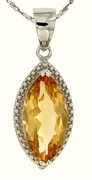 "2.94ctw Citrine Pendant in Sterling Silver with 18"" Chain"