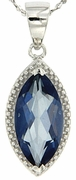 "2.94ctw Mystic Blueish Pendant in Sterling Silver with 18"" Chain"