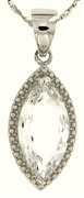 """2.94ctw White Topaz Pendant in Sterling Silver with 18"""" Chain"""