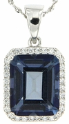 """5.41ctw Mystic Iolite Blue Pendant in Sterling Silver with 18"""" Chain"""