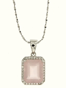 "5.41ctw Rose Quartz Pendant in Sterling Silver with 18"" Chain"