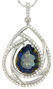 """4.91ctw Mystic Iolite Blue Pendant in Sterling Silver with 18"""" Chain"""