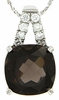 "6.89ctw Smokey Quartz Pendant in Sterling Silver with 18"" Chain"