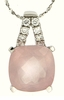 "6.89ctw Rose Quartz Pendant in Sterling Silver with 18"" Chain"