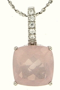 """3.84ctw SQuartz Pendant in Sterling Silver with 18"""" Chain"""