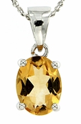"2.14ctw Citrine Pendant in Sterling Silver with 18"" Chain"
