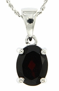 "2.14ctw Garnet Pendant in Sterling Silver with 18"" Chain"