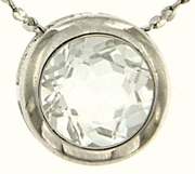 "0.85ctw White Topaz Pendant in Sterling Silver with 18"" Chain"