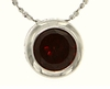"0.85ctw Garnet Pendant in Sterling Silver with 18"" Chain"
