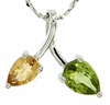"1.23ctw Peridot & Citrine Pendant in Sterling Silver with 18"" Chain"