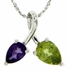 "1.23ctw Peridot & Amethyst Pendant in Sterling Silver with 18"" Chain"