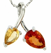"1.23ctw Mystic Sunstone & Citrine Pendant in Sterling Silver with 18"" Chain"