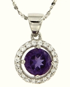 "1.08ctw Amethyst Pendant in Sterling Silver with 18"" Chain"