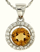 "1.08ctw Citrine Pendant in Sterling Silver with 18"" Chain"