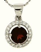 "1.08ctw Garnet Pendant in Sterling Silver with 18"" Chain"