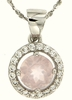 "1.08ctw Rose Quartz Pendant in Sterling Silver with 18"" Chain"