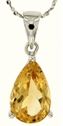 "4.00ctw Citrine Pendant in Sterling Silver with 18"" Chain"